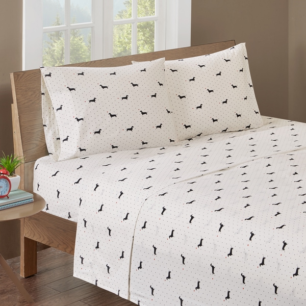 HipStyle Olivia Black/ Ivory Cotton Printed Percale Sheet Set