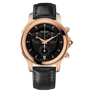 Balmain Eria Men's Black Leather Strap Rosetone Stainless Steel Watch