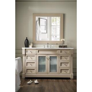 "Weston 60"" Single Vanity w/ Glass Doors, Sea Gull w/ Snow White Top - taupe"