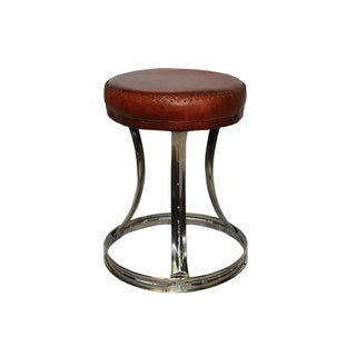 CIRCA Leather Stool with Silver Ring Base