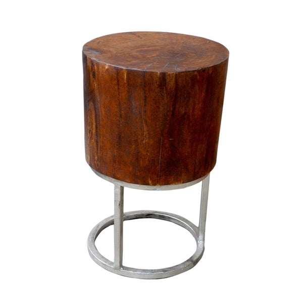 SANDERS Deep Mango Wood Round Accent Table