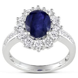 4ct TGW Created Blue and White Sapphire Diamond Halo Ring in Sterling Silver by Miadora