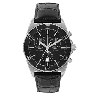 Certina Ds First Men's Black Leather Strap Stainless Steel Watch