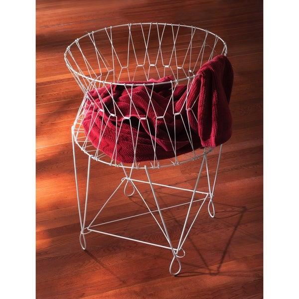 Shop Large Vintage White Wire Laundry Basket Hamper