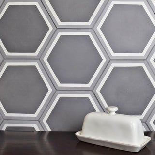 SomerTile 7.875x9-inch Cement Hex Holland Strait Cement Floor and Wall Tile (12/Case, 3.96 sqft.)