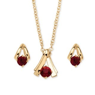 2 Piece Round Birthstone Necklace and Earrings Set in Yellow Gold Tone Color Fun