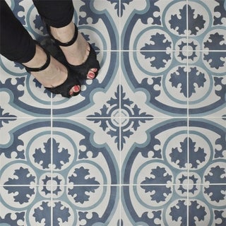 blue floor tiles. SomerTile 7.875x7.875-inch Cement Queen Mary Sky Floor And Wall Tile Blue Tiles