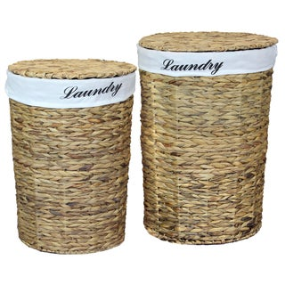 Woven Water Hyacinth Round Linen Lined Laundry Hamper with Lid (Set of 2)