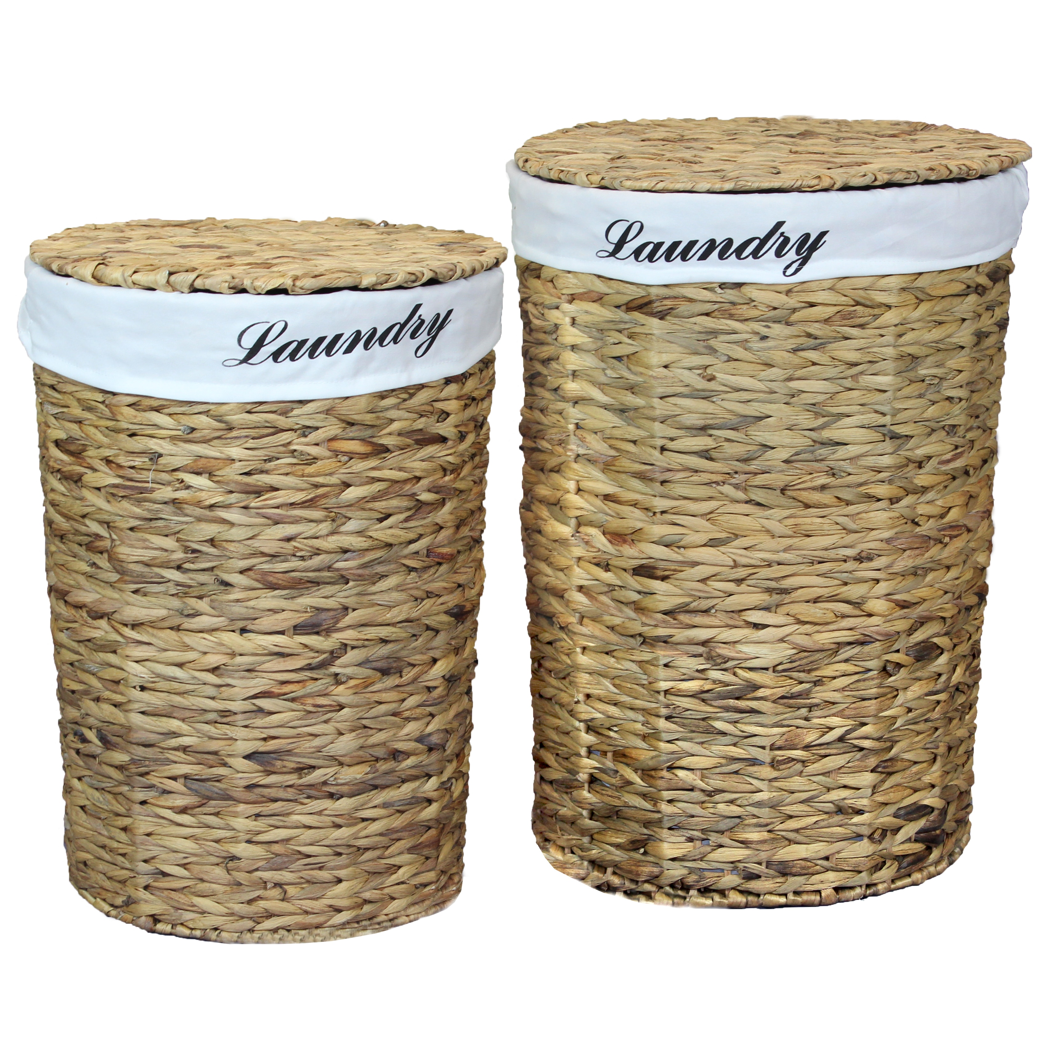 Water Hyacinth Baskets with Black Lining