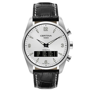 Certina DS Men's Multi-8 Black White Stitching Strap with Silver Dial Leather Watch - Black/White