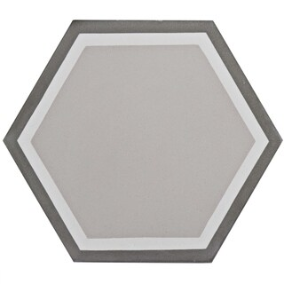 SomerTile 7.875x9-inch Cement Hex Holland Channel Cement Floor and Wall Tile (12/Case, 3.96 sqft.)