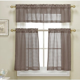 Cleo Check Faux Linen Kitchen Curtain