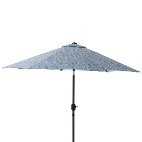 Pillow Perfect Herringbone Ink Blue 9-foot Patio Market Umbrella