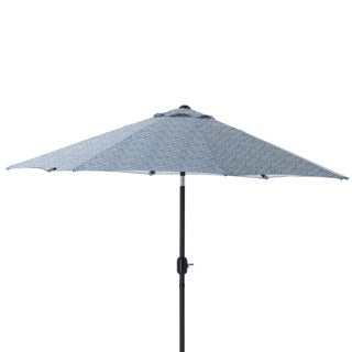 Pillow Perfect Herringbone Ink Blue 9-foot Patio Market Umbrella