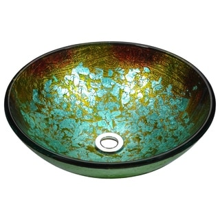 Stellar Series Deco-Glass Vessel Sink in Glacial Blaze