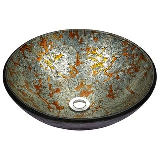 Stellar Series Deco-Glass Vessel Sink in Arctic Blaze