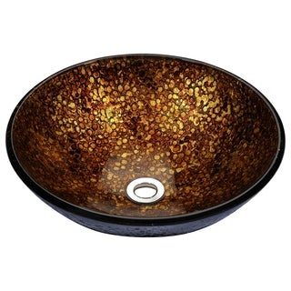 Stellar Series Deco-Glass Vessel Sink in Idol Gold
