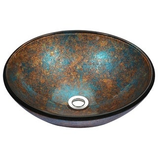 Stellar Series Deco-Glass Vessel Sink in Emerald Burst