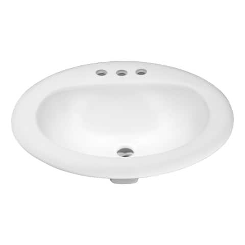 ANZZI Cadenza Series 20.5 in. Ceramic Drop In Sink Basin in White
