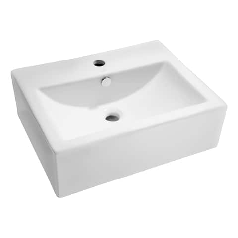 ANZZI Vitruvius Series White Ceramic Vessel Sink