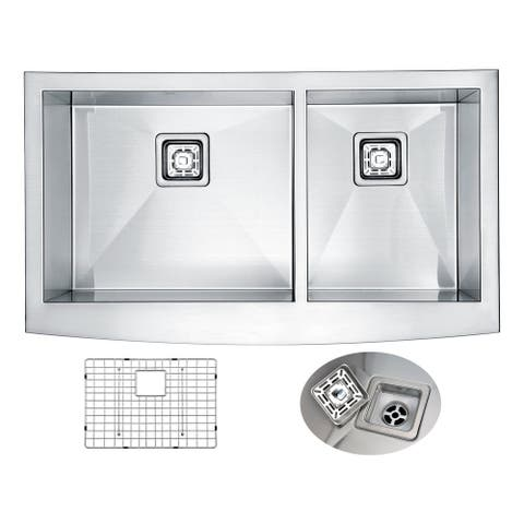 ANZZI Elysian 36 in. Farm House 60/40 Dual Basin Handmade Stainless Steel Kitchen Sink