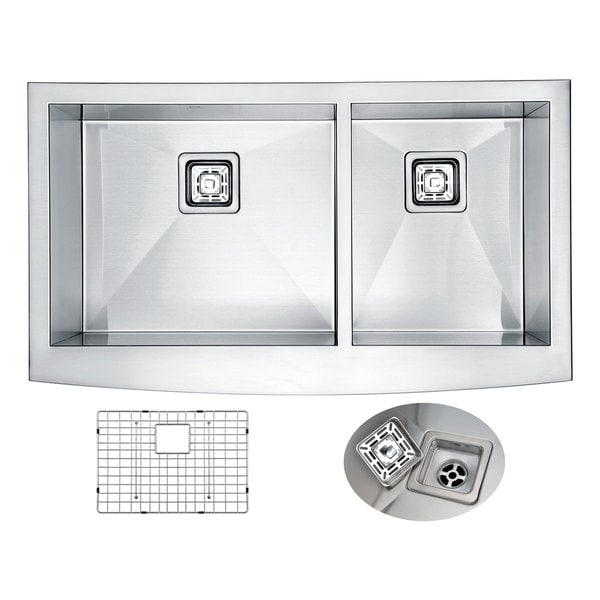 ANZZI Elysian 36 in. Farm House 60/40 Dual Basin Handmade Stainless Steel Kitchen Sink. Opens flyout.