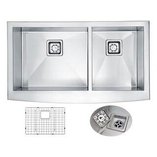 ANZZI Elysian 36 in. Farm House 60/40 Dual Basin Handmade Stainless Steel Kitchen Sink