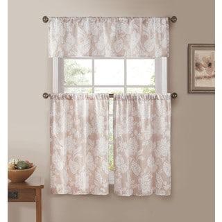 Ewva Linen Look 3-piece Jacquard Pole Top Kitchen Curtain Set