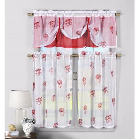 Duck River Cherry Strawberry 3-piece Kitchen Curtain Tier - L/36 - L/36