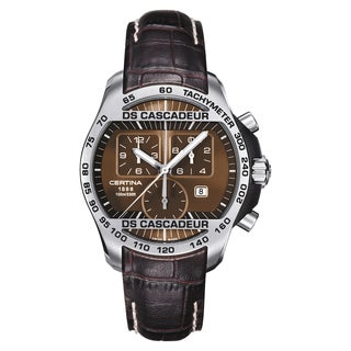 Certina DS Men's Cascadeur Brown White Stitching Strap with Brown Dial Leather Watch - Brown/Silver