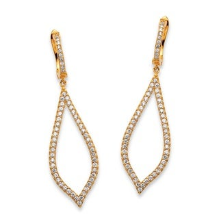14k Yellow Gold over Sterling Silver 1.56tcw Pave Cubic Zirconia Drop Leaf Earrings