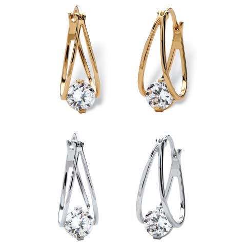 Yellow Gold-Plated Two Tone Hoop Earrings (28mm) Round Cubic Zirconia (8 cttw TDW)
