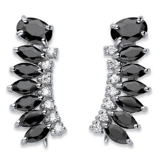 Sterling Silver 3.01ct TW Oval and Marquise-cut Black Cubic Zirconia Ear Climber Earrings|https://ak1.ostkcdn.com/images/products/14491418/P21049805.jpg?impolicy=medium
