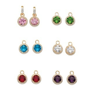 Yellow Gold-Plated Drop Earrings (27mm) Round Simulated Sapphire and Round Multi-color Glass (42 1/10 cttw)