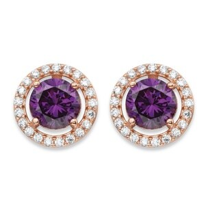 4.45 TCW Amethyst Purple Cubic Zirconia and Rose Gold Over .925 Sterling Silver Halo Stud Earrings