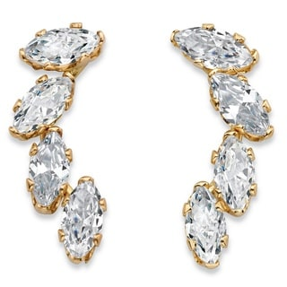 Glam CZ Solid 10k Yellow Gold .80 TCW Marquise-Cut Cubic Zirconia Ear Climber Earrings