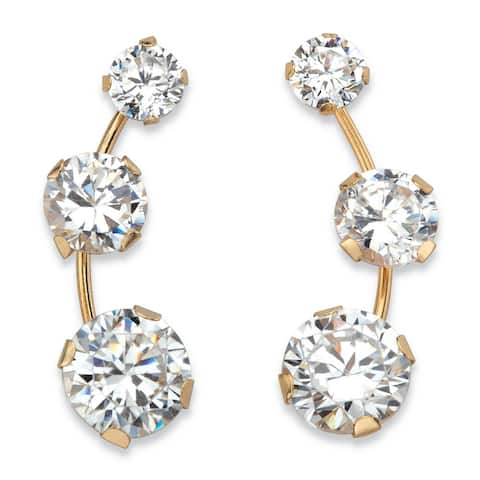 Solid 10k Yellow Gold 1.70 TCW Round White Cubic Zirconia 3-stone Ear Climber Earrings