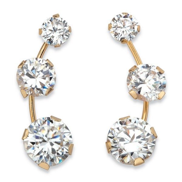 5003a924cf6868 Solid 10k Yellow Gold 1.70 TCW Round White Cubic Zirconia 3-stone Ear  Climber Earrings