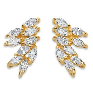 2.70 Tcw Marquise-Cut White Cubic Zirconia Cluster Drop Earrings Glam Cz