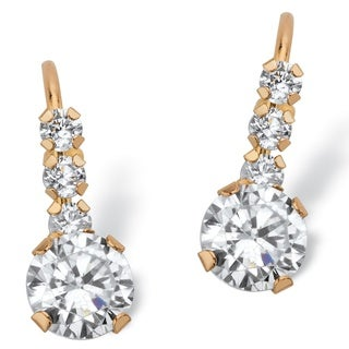 1.20 TCW Round White Cubic Zirconia Drop Earrings with Lever Backs in Solid 10k Yellow Gold Classic CZ