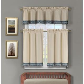Zoey Cotton Crochet 3-piece Kitchen Curtain Set