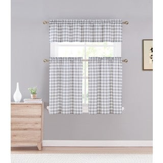 Duck River Kingston Checked 3-piece Kitchen Curtain Tier