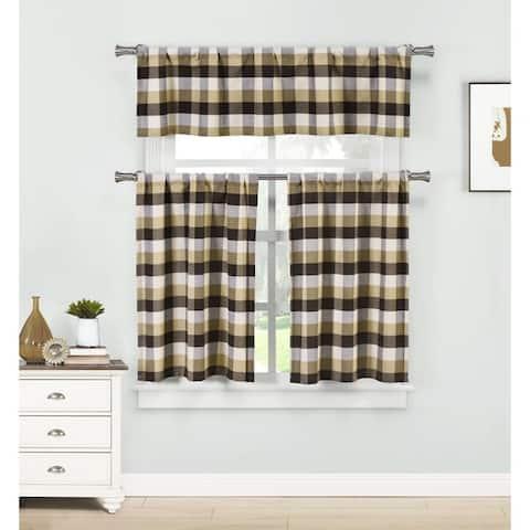 Duck River Kingsville Striped 3-Piece Kitchen Curtain Tier