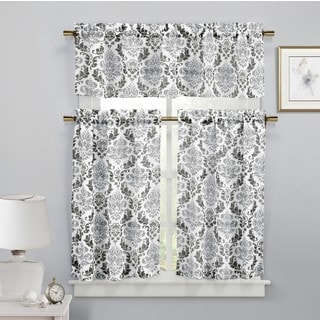 Duck River Melbourne Faux-linen Damask 3-piece Kitchen Curtain Set