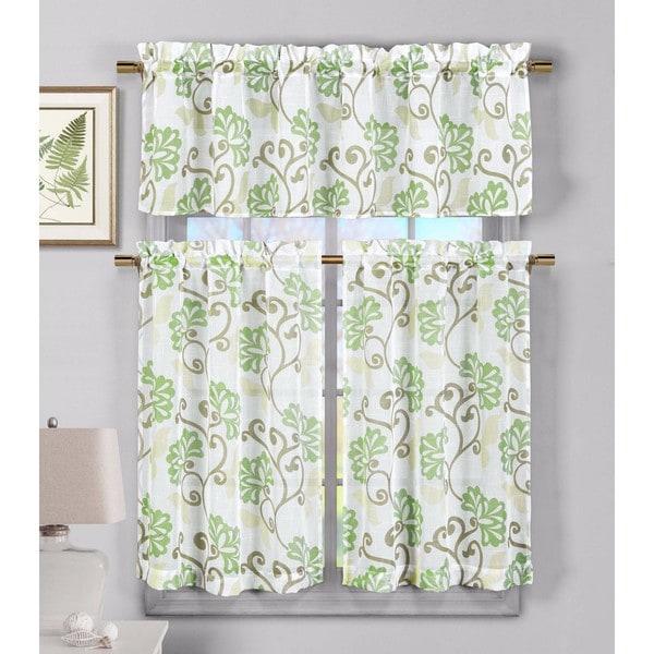 Duck River Rivietta Floral Linen 3 Piece Kitchen Curtain