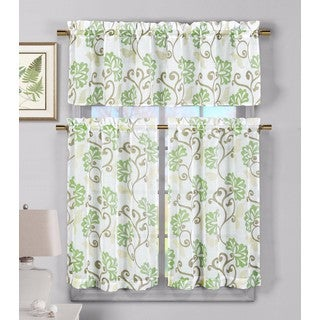 Duck River Rivietta Floral Linen 3-Piece Kitchen Curtain Tier