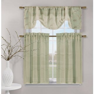 Duck River Videira Leaf Embossed Kitchen Curtain Tier