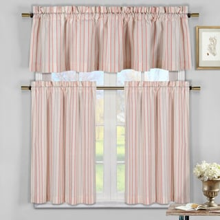 Xandra Orange Striped Kitchen Curtain Tiers (Pack of 3)