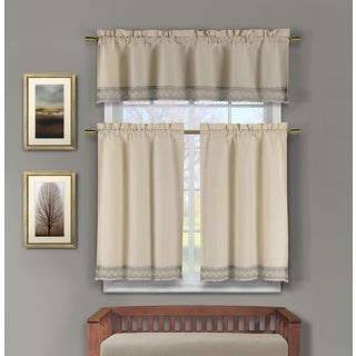 Duck River Zoey Crochet 3-Piece Kitchen Curtain Tier - 15 x 58 (2 options available)
