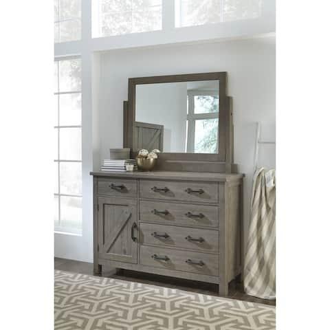 Austin Five Drawer One Door Solid Wood Dresser in Rustic Gray